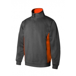 Sweatshirt bicolor com meio fecho
