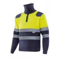 Camisola bicolor alta visibilidade com fecho de correr