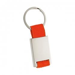 Porta chaves em metal retangular, com fita de nylon