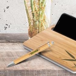 Esferográfica em bamboo, com clip metálico